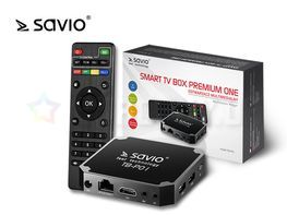 SAVIO TB-P01 Smart TV Box Premium, Android 7.1 Nougat, HDMI v2.0, WiFi, SD, Ethernet, 16GB ROM, 2GB RAM, UHD 4K