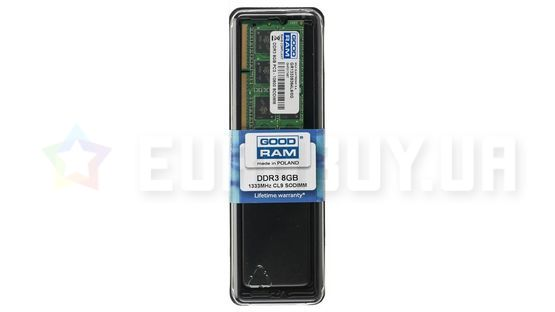 Оперативная память GOODRAM 8GB DDR3 SO-DIMM 1333 MHz (GR1333S364L9/8G)