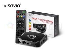 SAVIO TB-B01 Smart TV Box Basic, Android 7.1 Nougat, HDMI v2.0, WiFi, SD, Ethernet, 8GB ROM, 1GB RAM, UHD 4K