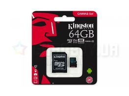 Карта памяти Kingston 64 GB microSDXC class 10 UHS-I U3 Canvas Go! + SD Adapter (SDCG2/64GB)